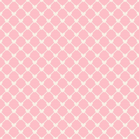 round: Heart shape vector seamless pattern (tiling). Pink and white color. Endless texture can be used for printing onto fabric and paper or scrap booking. Valentines day background for invitation.