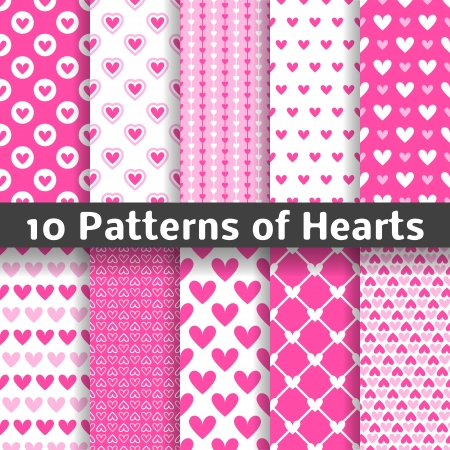 10 Heart shape vector seamless patterns (tiling). Pink color. Endless texture can be used for printing onto fabric and paper or scrap booking. Valentines day background for invitation. Ilustração