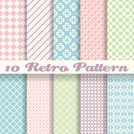 10 Pastel retro different vector seamless patterns (tiling). Endless texture can be used for wallpaper, pattern fills, web page background, surface textures. Set of monochrome geometric ornaments. Vector