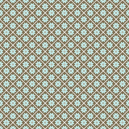 aqua flowers: Pattern paper for scrapbook  tiling   Blue, white and brown shabby color  Endless texture can be used for printing onto fabric and paper or scrap booking  Flower abstract shape  Baby wallpaper  Illustration