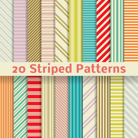 20 Retro striped vector seamless patterns  tiling   Textures for wallpaper, fills, web page background, surface  Set of monochrome geometric ornaments  Yellow, red, orange, blue and purple colors  Vector