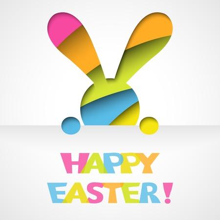 easter bunny: Glückliche Ostern-Karte mit Häschen und Schrift auf weißem Papier Hintergrund Vektor-Illustration für lustige Ferien-Design Grußkarte mit ausgeschnitten bunte Kaninchen rosa, orange, grün, blau und gelb
