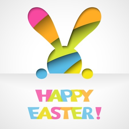 easter bunny: Happy easter card with bunny and font on white paper background  Vector illustration for funny holiday design  Greeting card with cut out colorful rabbit  Pink, orange, green, blue and yellow colors