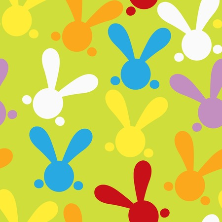 yelow: Colorful seamless paterns with easter bunny. Vector illustration for funny holiday design. Background for post or greeting card. Cute wallpaper with rabbits. White, orange, yelow, red, purple, green colors.