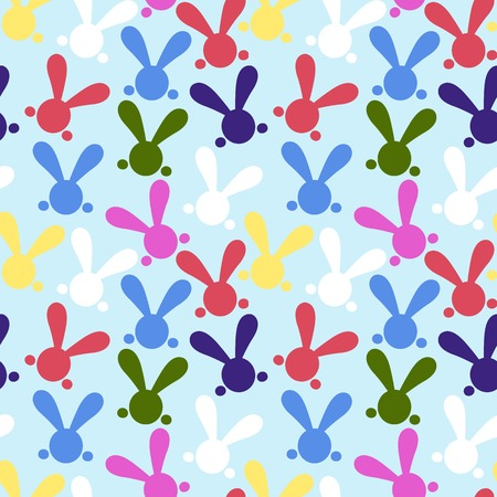 yelow: Colorful seamless paterns with easter bunny. Vector illustration for funny holiday design. Background for post or greeting card. Cute wallpaper with rabbits. White, yelow, red, green, pink, black, blue colors.