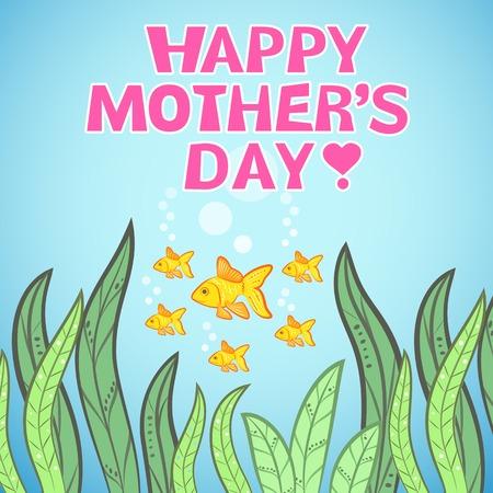 pink green: Dise�o de la tarjeta de felicitaci�n con el pescado para el D�a de la Madre. Ilustraci�n vectorial dor dise�o divertido del d�a de fiesta. Azul, los colores rosa, verde, naranja y amarillo. Dibujado a mano cuadro con pescado madre y sus hijos.