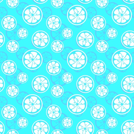 Abstract citrus fruit seamless pattern. Vector illustration for fresh sweet design. Can be used for wallpaper, cover fill, web page background, surface texture. Blue and white color.