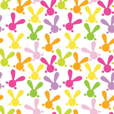 yelow: Colorful seamless paterns with easter bunny. Vector illustration for funny holiday design. Background for post or greeting card. Cute wallpaper with rabbits. Orange, green, yelow, pink, purple colors. Illustration