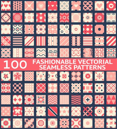(견본, 기와 함께) 100 유행 빈티지 벡터 원활한 패턴. 레트로, 분홍색, 흰색, 파랑 색. 화면, 웹 페이지 배경, 직물 및 종이 질감입니다. 기하학적 장식의