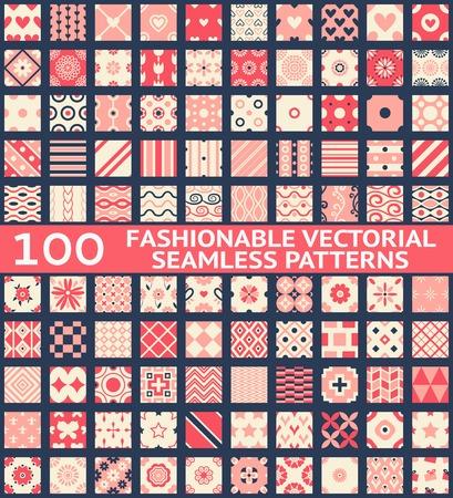 100 Modieuze vintage vector naadloze patronen (met staal, tegels). Retro roze, witte en blauwe kleuren. Textuur voor de achtergrond, webpagina achtergrond, stof en papier. Set van geometrische ornament. Stock Illustratie