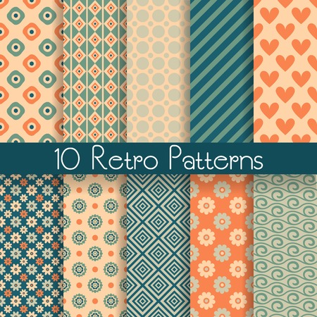 10 Retro abstract vector seamless patterns (tiling, with swatch). Endless texture can be used for wallpaper, fill, web background, texture. Set of monochrome geometric ornaments. Vintage colors. Vector