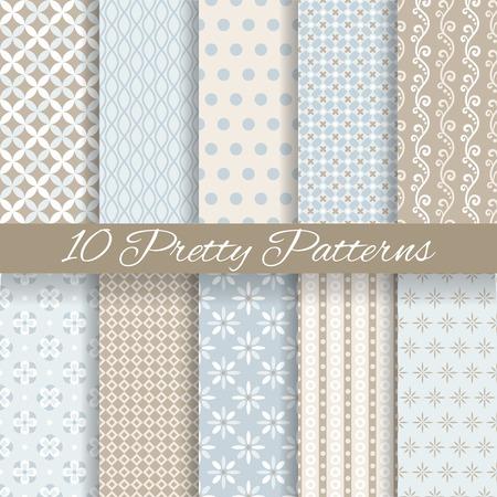 papel tapiz turquesa: 10 pastel patrones de vectores sin fisuras Pretty (suelo de baldosas, con la muestra). Textura fin se puede utilizar para el papel pintado, de relleno, de fondo web, textura. Conjunto de abstractos adornos lindos. , Beige, colores blancos azules.