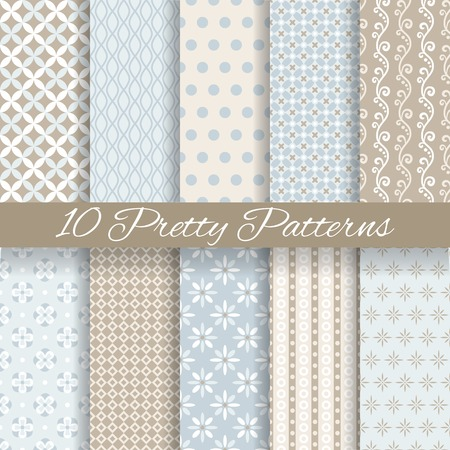 10 Pretty pastel vector seamless patterns (tiling, with swatch). Endless texture can be used for wallpaper, fill, web background, texture. Set of abstract cute ornaments. Blue, beige, white colors. Vector