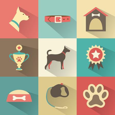 플랫: 레트로 개 아이콘을 설정합니다. 웹, 모바일 애플리케이션 디자인을위한 벡터 일러스트 레이 션. 동물의 실루엣을 애완 동물. 개 머리, 풀, 칼라, 개집, 컵, 메달, 수상, 음식, 가죽 끈, 뼈의 그릇, 발자국 프로필. 일러스트