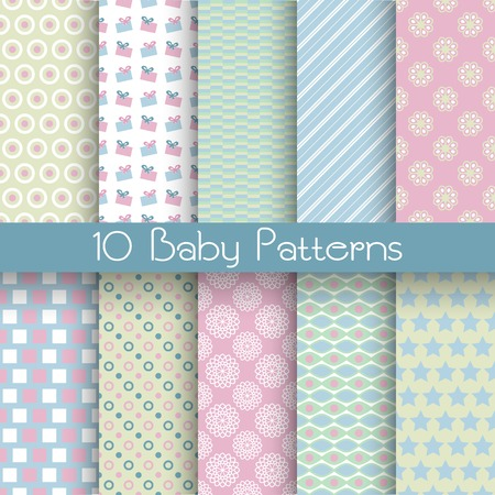 10 Baby pastel different vector seamless patterns (tiling). Endless texture can be used for wallpaper, pattern fills, web page background, surface textures. Set of monochrome geometric ornaments. Vector