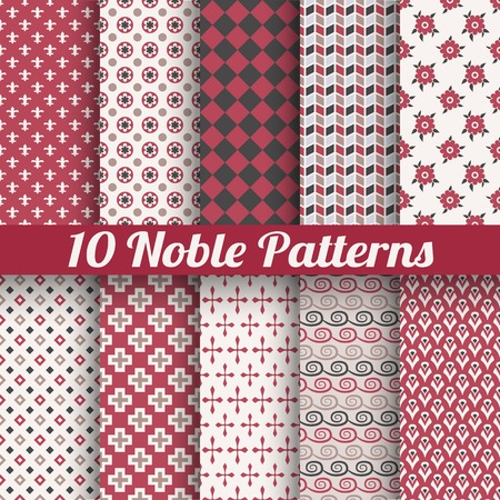 10 Noble elegant vector seamless patterns (tiling). Retro red, black and white colors. Endless texture can be used for printing onto fabric and paper or scrap booking.