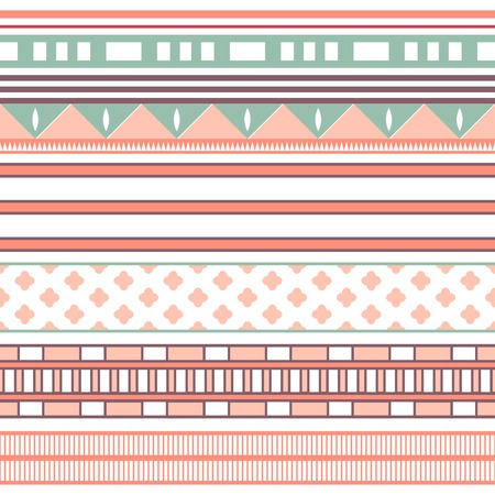 Tribal ethnic seamless stripe pattern. Vector illustration for your cute feminine romantic design. Aztec sign on white background. Pink, red and blue colors. Borders and frames. Vector