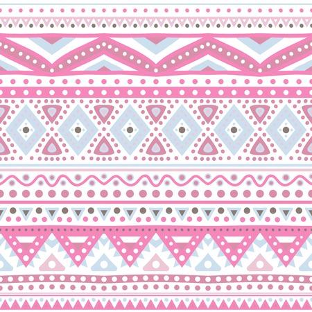 indian light: Patr�n transparente �tnica tribal raya. Ilustraci�n vectorial para su dise�o rom�ntico femenino lindo. Signo azteca sobre fondo blanco. Los colores rosados ??y azules. Fronteras y marcos.