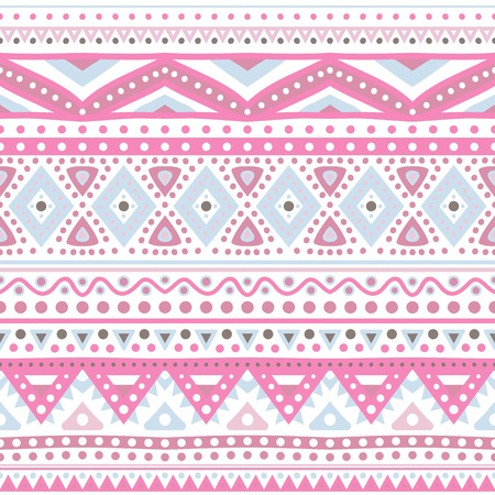 Tribal ethnischen nahtlose Streifenmuster. Vektor-Illustration für Ihre nette weibliche romantische Design. Aztec Zeichen auf weißem Hintergrund. Rosa und blauen Farben. Ränder und Felder. Illustration