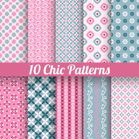 10 Chic different vector seamless patterns (tiling). Pink and blue color. Endless texture for printing onto fabric, paper, scrap booking. Wave, flower and dot shape. Pretty cute print background. Vector