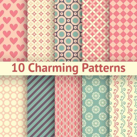 10 매력적인 다른 벡터 원활한 패턴 (기와). 달콤한 핑크, 블루, 레몬 크림 색상. 끝없는 감촉 패브릭 및 용지 상에 인쇄하기 위해 사용될 수있다. 하트,