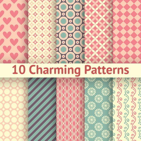 10 Charming different vector seamless patterns (tiling). Sweet pink, blue and lemon cream colors. Endless texture can be used for printing onto fabric and paper. Heart, flower and dot shape. Ilustração