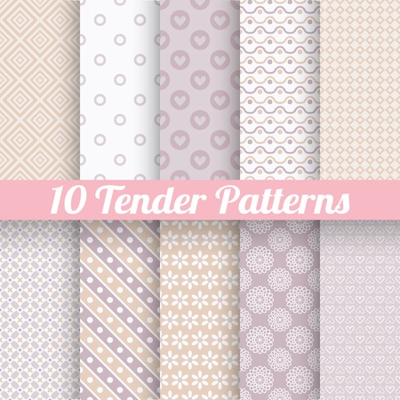 feminine background: 10 Tender loving wedding vector seamless patterns (tiling). Fond beige and white colors. Endless texture can be used for printing onto fabric and paper or invitation. Heart, flower, dot. Illustration