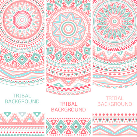 Tribal ethnic vintage banners. Vector illustration for your cute feminine romantic design. Aztec sign on white background. Pink and blue colors. Border and frame. Oriental rug napkin. Stripe pattern.