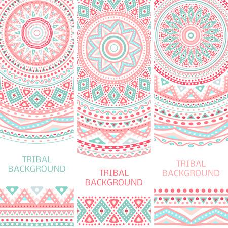 tribales: Tribales banderas �tnicas vintage. Ilustraci�n vectorial para su dise�o rom�ntico femenino lindo. Signo azteca sobre fondo blanco. Colores rosas y azules. Frontera y marco. Servilleta alfombra oriental. Modelo de la raya. Vectores