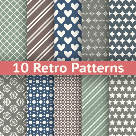 diagonal lines: 10 Retro abstract vector seamless patterns (tiling, with swatch). Endless texture can be used for wallpaper, fill, web background, texture. Set of monochrome geometric ornaments. Vintage colors.