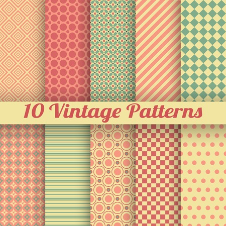 10 Vintage different vector seamless patterns (tiling). Endless texture for wallpaper, fill, web page background, surface texture. Set of monochrome geometric ornament. Red and beige shabby colors. Vector
