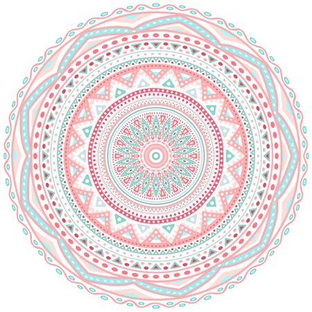 oriental rug: Decorative pink and blue round pattern frame on white background. Vector illustration for cute feminine and baby design. Dot and wave shapes. Oriental rug  napkin. Tribal ethnic ornamental textile. Illustration