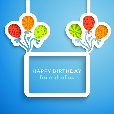 Happy birthday colorful applique background. Vector illustration for your funny holiday design. Banner of applique for your greeting postcard. Balloon and frame cut out white paper. Blue, white color.