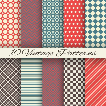 border tile: 10 Vintage different vector seamless patterns (tiling). Endless texture for wallpaper, fill, web page background, surface texture. Set of monochrome geometric ornament. Red and beige shabby colors.