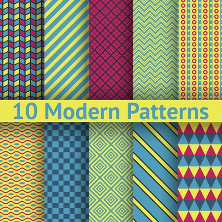 Different modern vector seamless patterns (tiling). Texture can be used for printing onto fabric and paper or scrap booking. Abstract geometric shapes. Vector