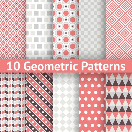 10 Geometric patterns (tiling). Set of vector seamless abstract vintage backgrounds. Retro orange, pink and blue colors. Endless texture can be used for printing onto fabric and paper or scrap booking Vector