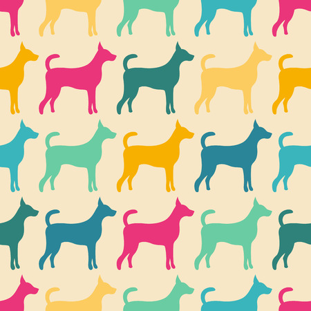 Funny animal seamless vector pattern of dog silhouettes. Endless texture can be used for printing onto fabric, web page background and paper or invitation. Doggy style. Colorful. Vector