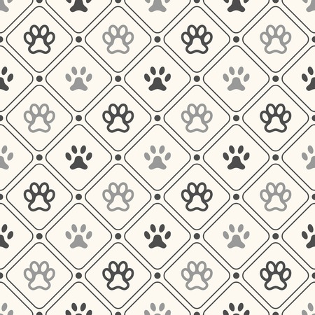 Seamless animal pattern of paw footprint in frame and polka dot. Endless texture can be used for printing onto fabric, web page background and paper or invitation. Dog style. White and black colors. Vector