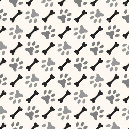 Naadloze dier patroon van poot voetafdruk en bot. Endless textuur kan worden gebruikt voor het printen op doek, webpagina achtergrond en papier of uitnodiging. Diagonale hond stijl. Witte en zwarte kleuren. Stock Illustratie