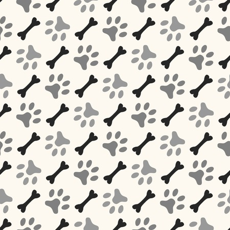Seamless animal pattern of paw footprint and bone. Endless texture can be used for printing onto fabric, web page background and paper or invitation. Diagonal dog style. White and black colors. Illustration