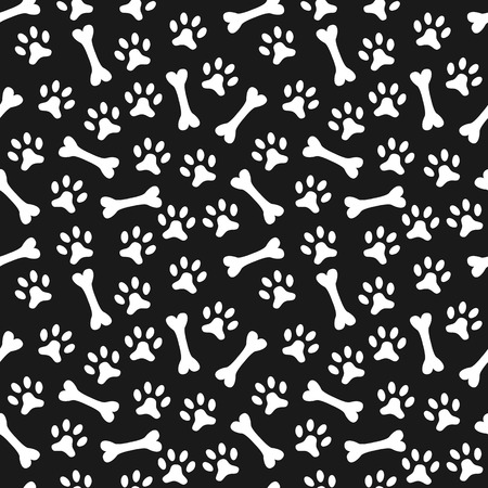 onto: Animal seamless vector pattern of paw footprint and bone. Endless texture can be used for printing onto fabric, web page background and paper or invitation. Dog style. White and black colors.