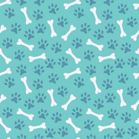 prints mark: Animal seamless vector pattern of paw footprint and bone. Endless texture can be used for printing onto fabric, web page background and paper or invitation. Dog style. White and blue colors.