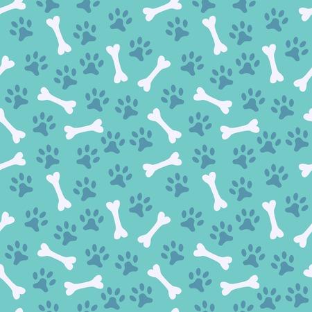 Dier naadloze vector patroon van poot voetafdruk en bot. Eindeloze textuur kan worden gebruikt voor het printen op doek, webpagina achtergrond en papier of uitnodiging. Hond stijl. Witte en blauwe kleuren. Stock Illustratie