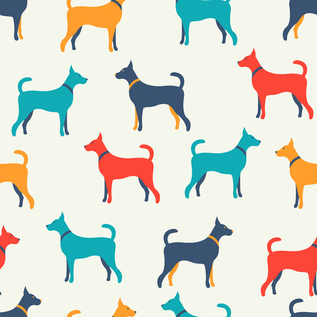 Animal seamless vector pattern of dog silhouettes. Endless texture can be used for printing onto fabric, web page background and paper or invitation. Doggy style. White, blue, red and yellow colors.