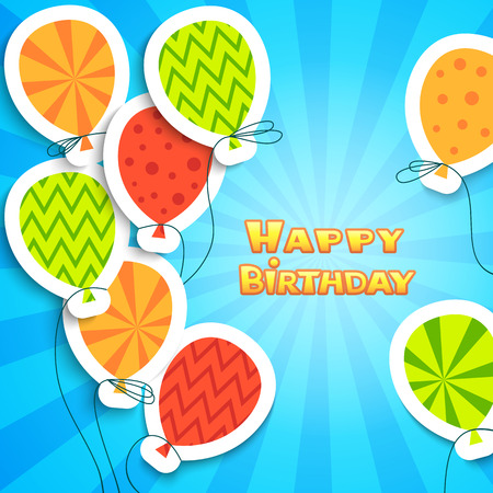 Happy birthday colorful applique background. Vector illustration for your funny holiday design. Banner of applique for your greeting postcard. Balloon and frame cut out white paper. Blue, white color. Vector