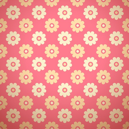 simple girl: Feminine vector seamless pattern (tiling). Fond pink and yellow colors. Endless texture can be used for printing onto fabric and paper or invitation. Simple flower shape.