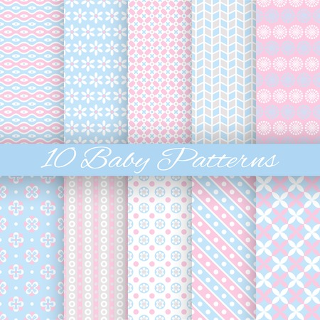 10 Baby pastel different vector seamless patterns (tiling). Endless texture can be used for wallpaper, pattern fills, web page background, surface textures. Set of monochrome geometric ornaments. Vector Illustration