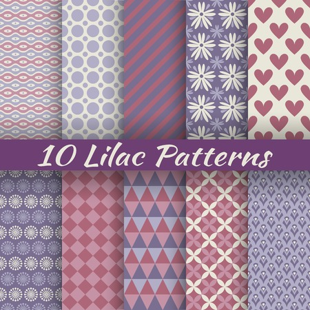 10 Lilac different vector seamless patterns (with square swatches). Endless texture can be used for elegant dream wallpaper, pattern fill, web page background, surface texture. Abstract ornaments Vector