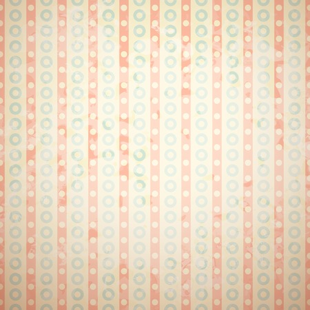 Retro vector pattern (tiling). Fond red, beige and blue colors. Endless texture can be used for printing onto fabric and paper or invitation. Dot, circle , vertical stripe shape. Vector