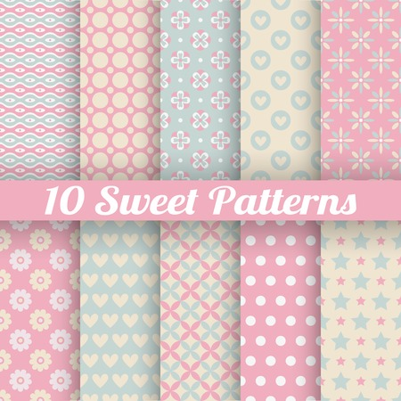 Sweet cute vector seamless patterns (tiling). Pink and blue shabby color. Endless texture can be used for printing onto fabric and paper or scrap booking. Flower, heart, dot, wave abstract shapes.